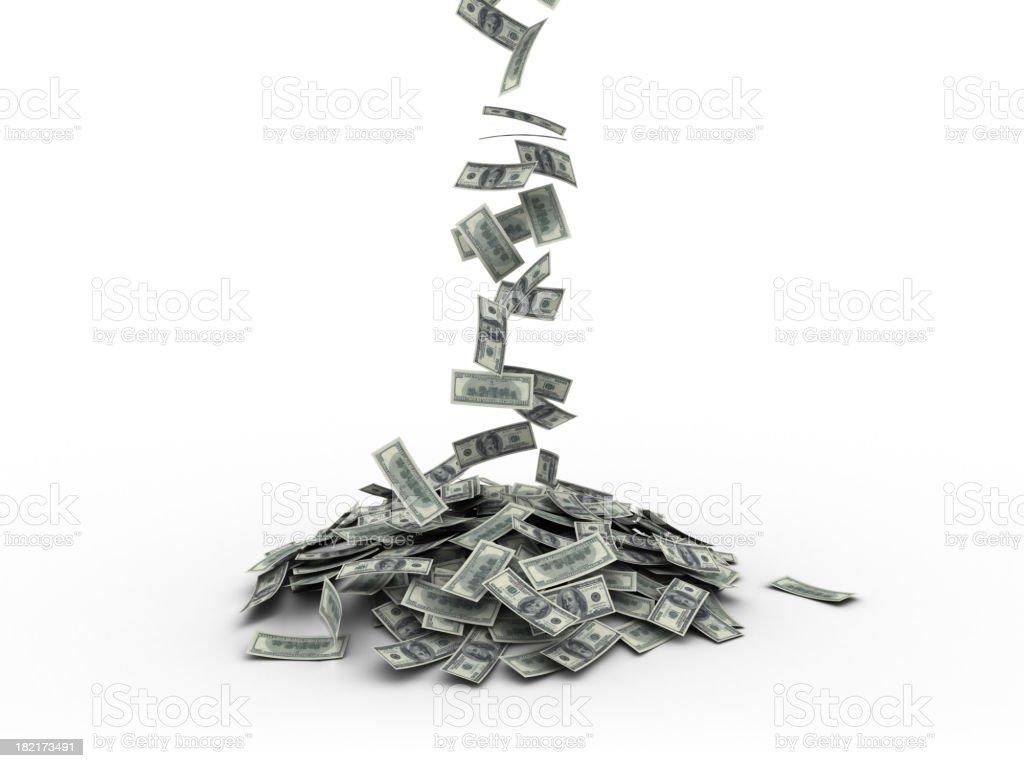 Lot of US Money Falling royalty-free stock photo