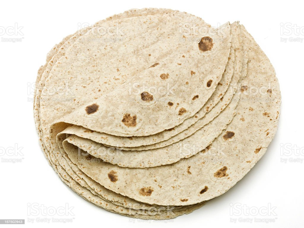 Lot of whole wheat flour mexican tortillas stock photo