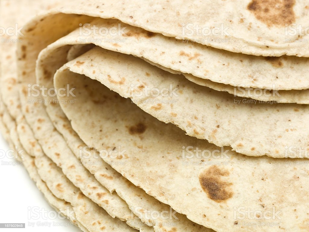Lot of whole wheat flour mexican tortillas royalty-free stock photo