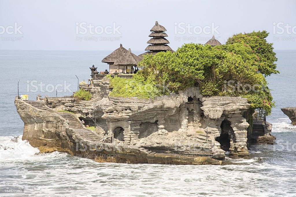A lot temple on a rocky island stock photo