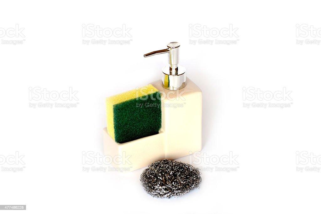 Lotion dispenser with sponge stock photo