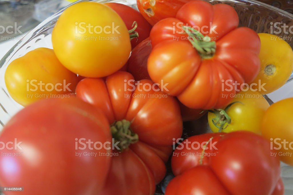 Lots and Lots of Colorful Tomatoes stock photo