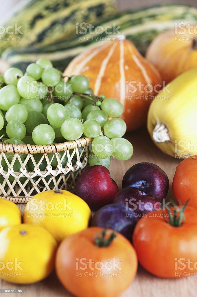 lots fruits vegetables squash bunch grapes basket mandarin plum royalty-free stock photo
