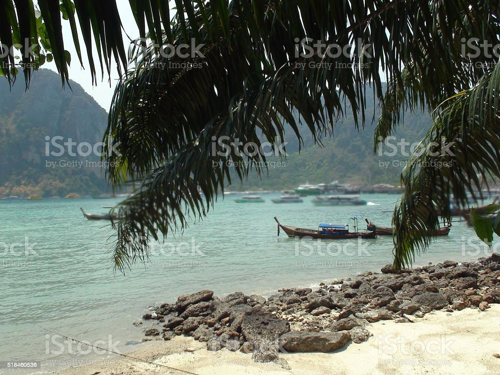 Lots Of Boats On Tonsai Bay In Phi Phi Island.Thailand.Asia stock photo