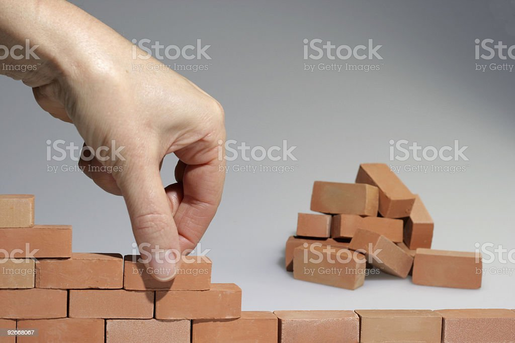 Lots of Bricks compleeting the wall royalty-free stock photo