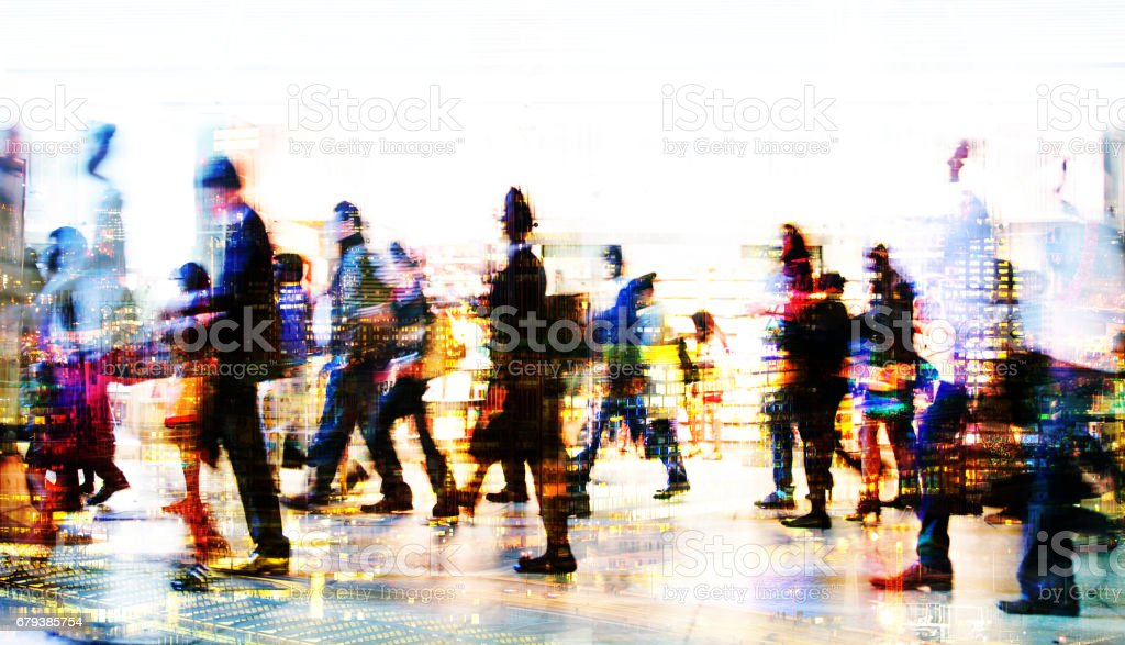 Lots of business people walking in the City. London stock photo