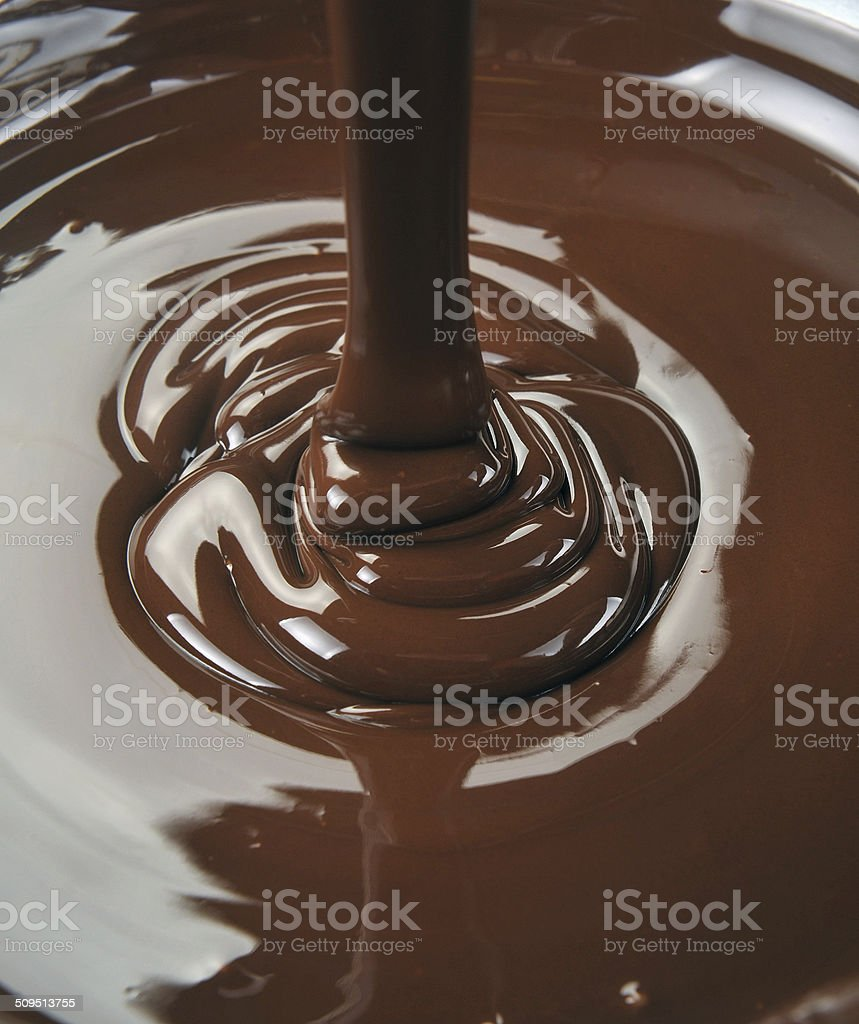 lots of chocolate falling from above stock photo
