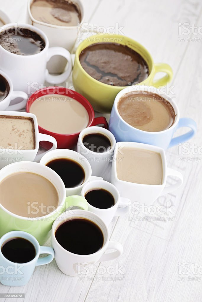 lots of coffee cups royalty-free stock photo