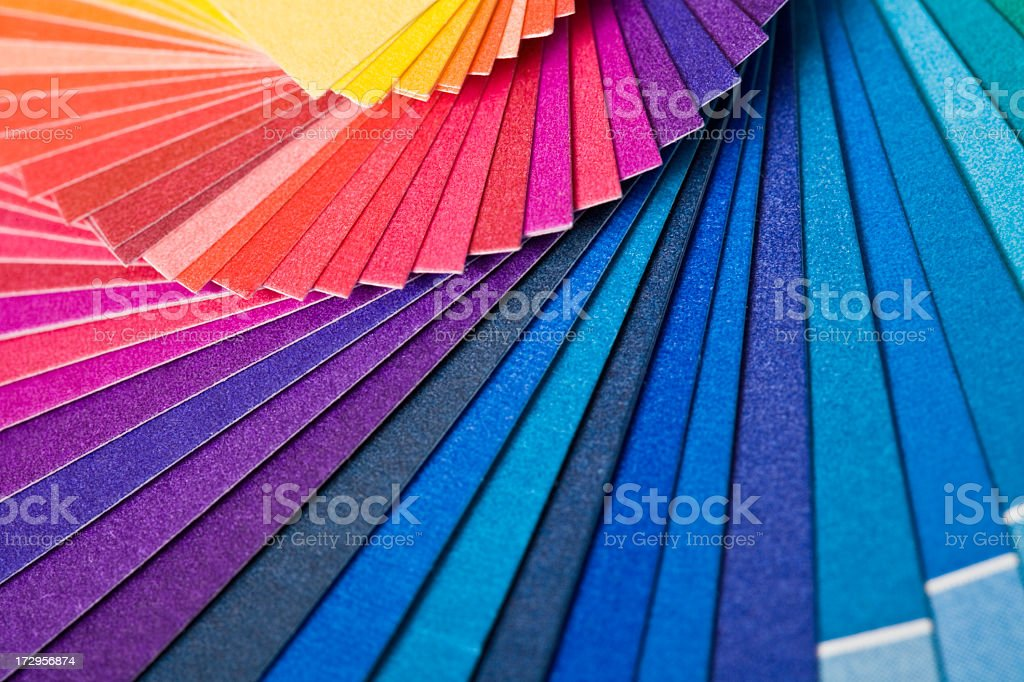 Lots of color swatches from blue to red royalty-free stock photo
