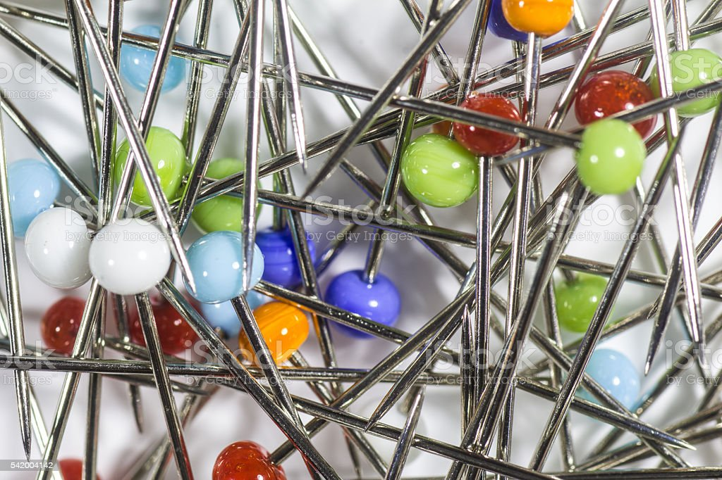Lots of Colourful Dressmaking Pins stock photo