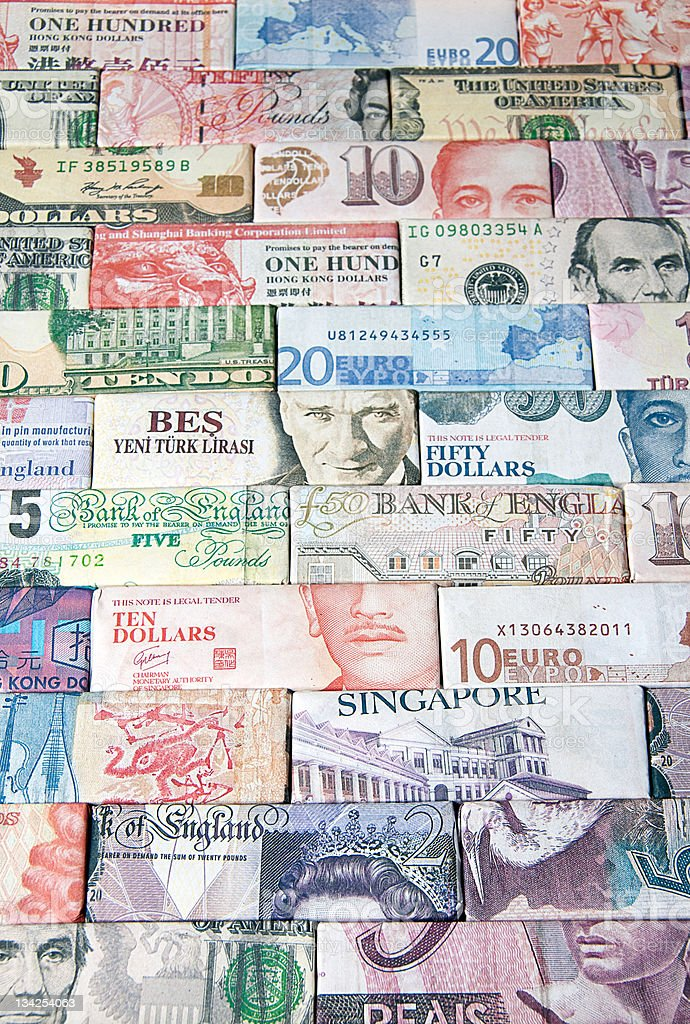 Lots of different global paper money royalty-free stock photo