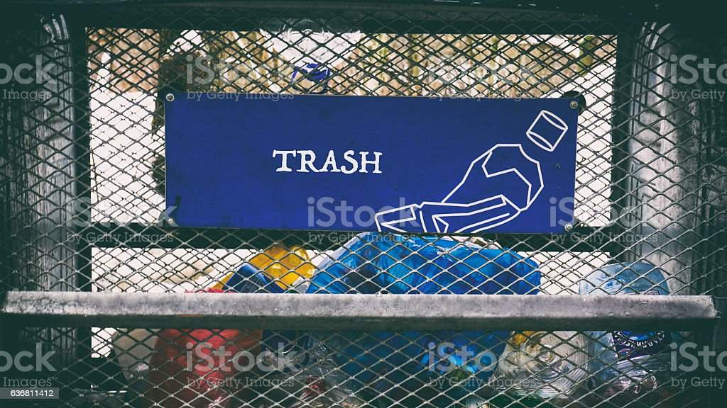 Lots of different trash, words on paper sticker stock photo