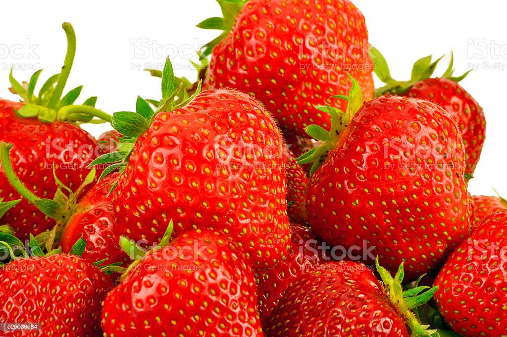 lots of fresh strawberries on white background stock photo
