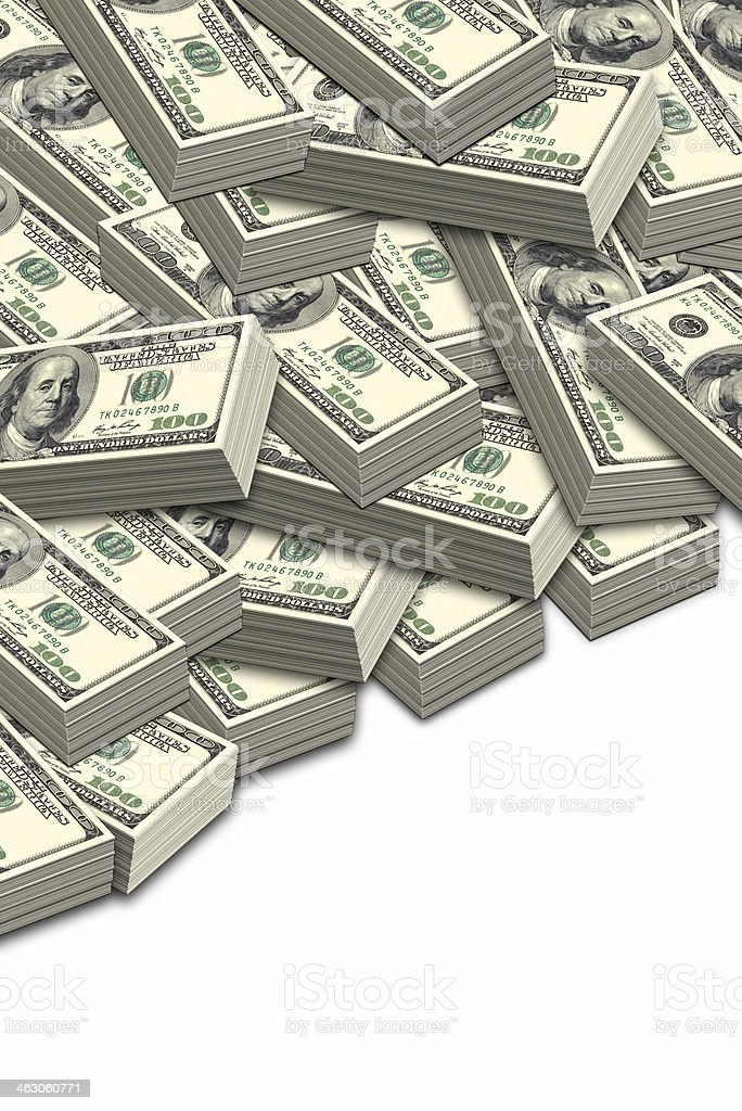 Lots of hundred dollar bills stock photo