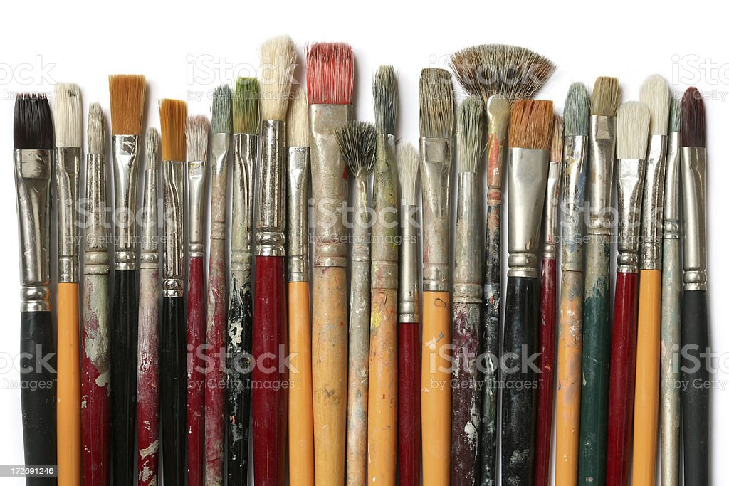 Lots of old paintbrushes in a row  - XL royalty-free stock photo
