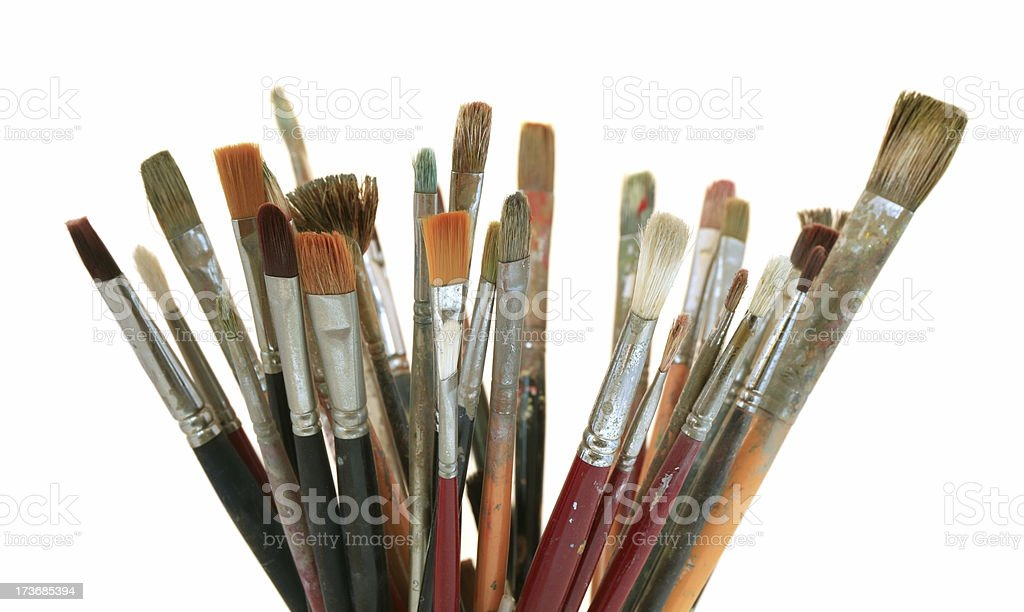 Lots of old paintbrushes royalty-free stock photo