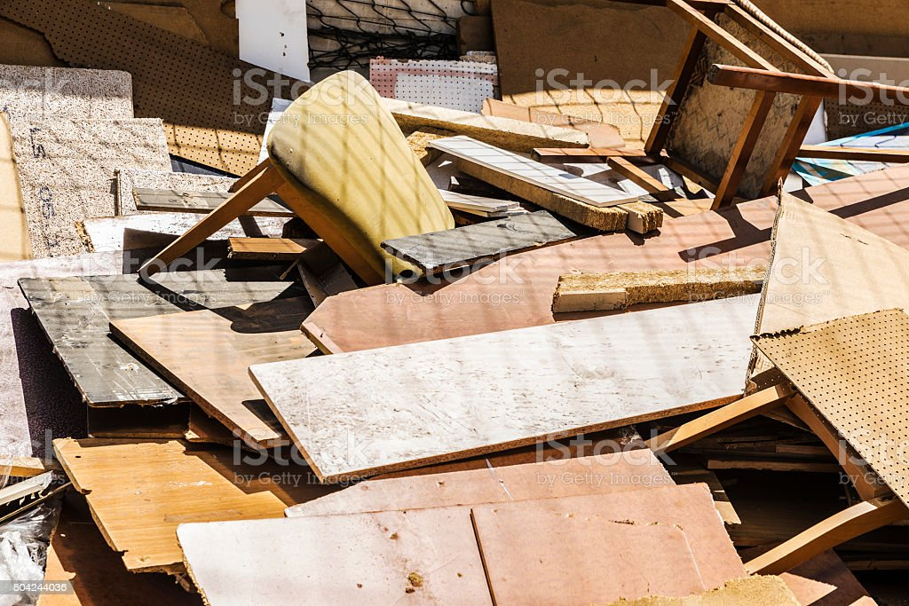 Lots of old wood and debris stock photo