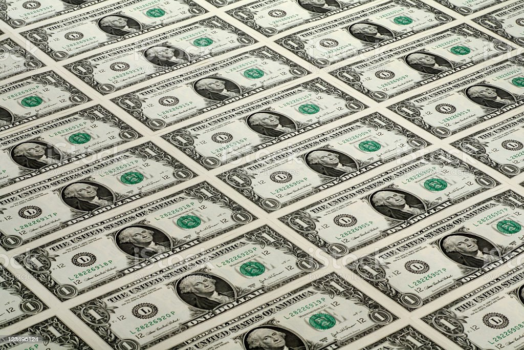 lots of one dollar bills stock photo