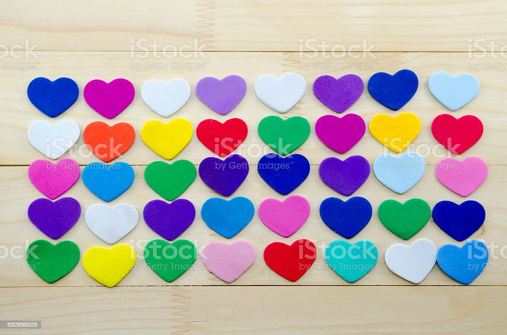 Lots of papper hearts on a table royalty-free stock photo