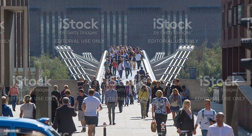 Lots of people walking in the City, London stock photo