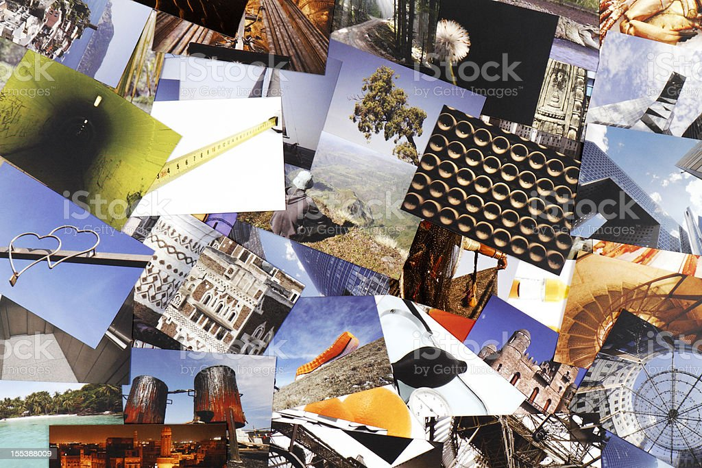 Lots of photograph collections in one image stock photo