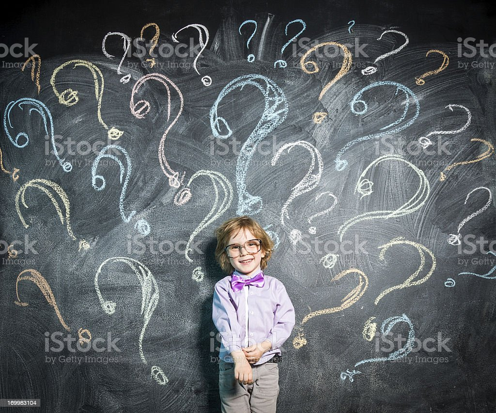 Lots of questions for little genius stock photo