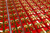 Lots of Red Christmas Presents with Gold Bows Background