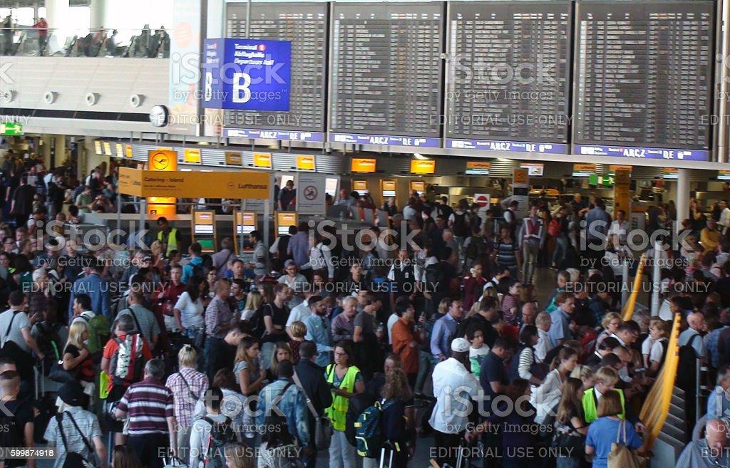 Lots Of Travellers At Frankfurt International Airport Germany Europe stock photo