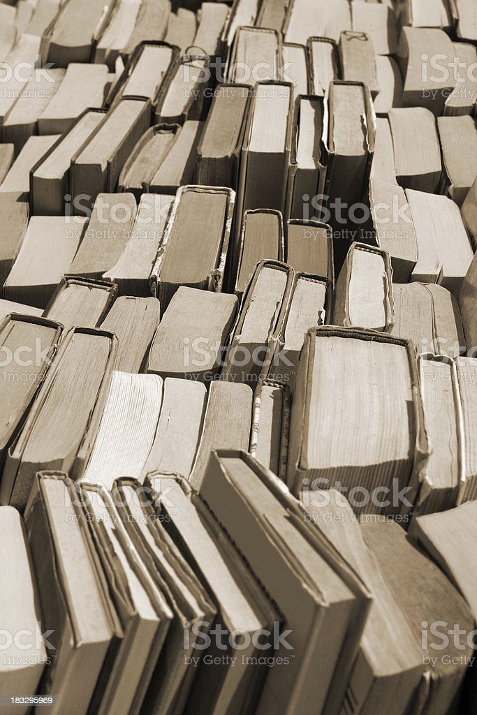 Lots of used books at the flea market royalty-free stock photo