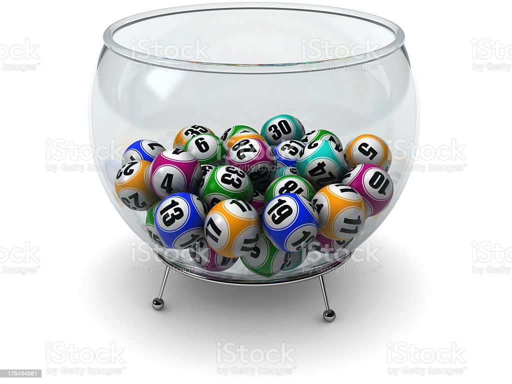 Lottery balls in cup stock photo