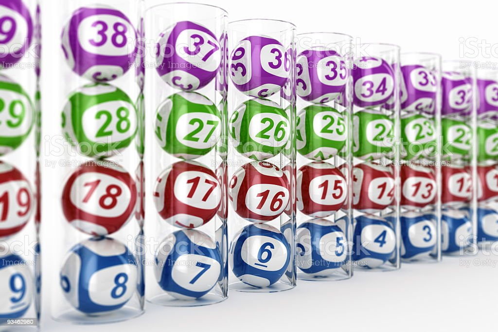 Lottery balls in glass tubes stock photo