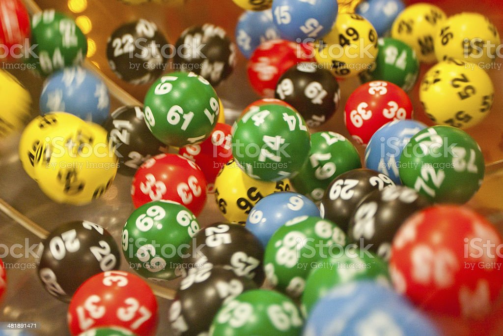 Lottery balls in the mashine stock photo
