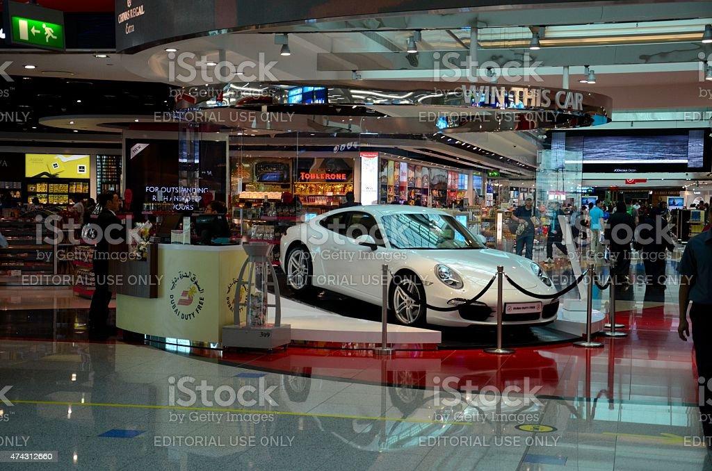 Lottery Porsche prize at Dubai Airport Duty Free complex UAE stock photo