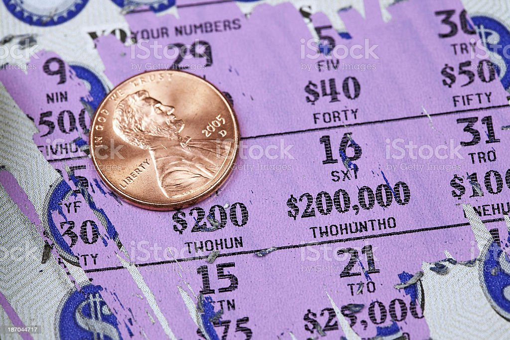 Lottery Scratch Off Game Ticket Macro with Penny stock photo