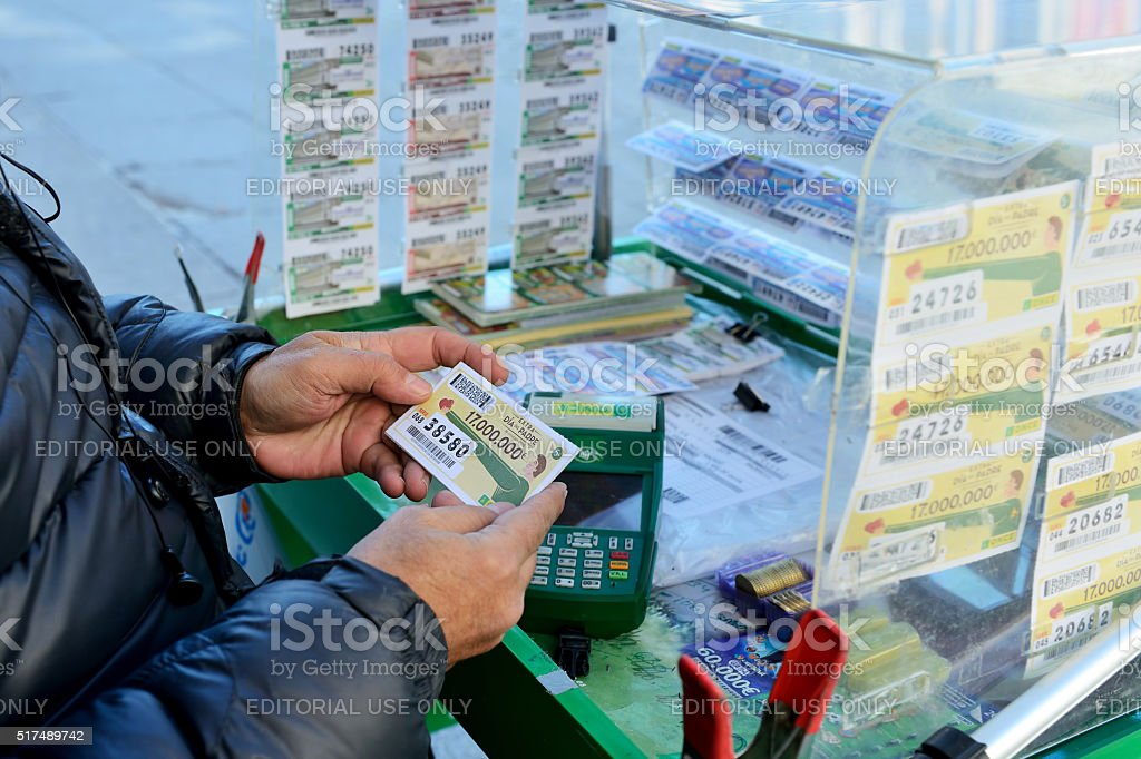 Lottery ticket seller in Madrid stock photo