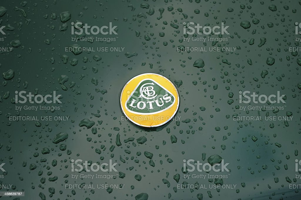 Lotus badge on a green Lotus Esprit classic sports car stock photo