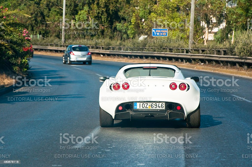 Lotus car on the highway in Athens, Greece. stock photo