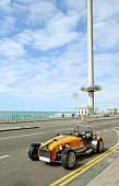 Lotus Cobra vintage car parked in Brighton's promenade.
