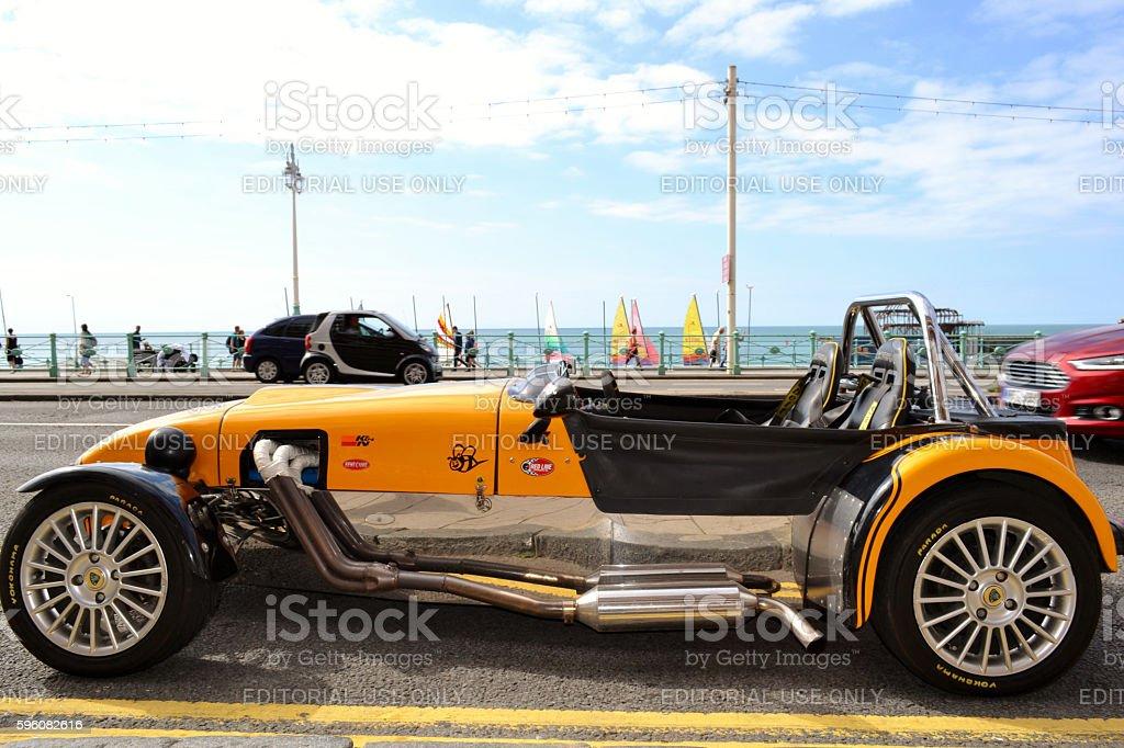 Lotus Cobra vintage car parked in Brighton's promenade. stock photo