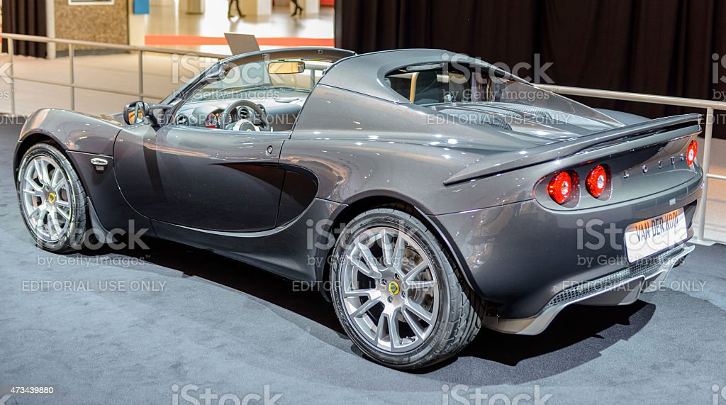 Lotus Elise compact sports car rear view stock photo