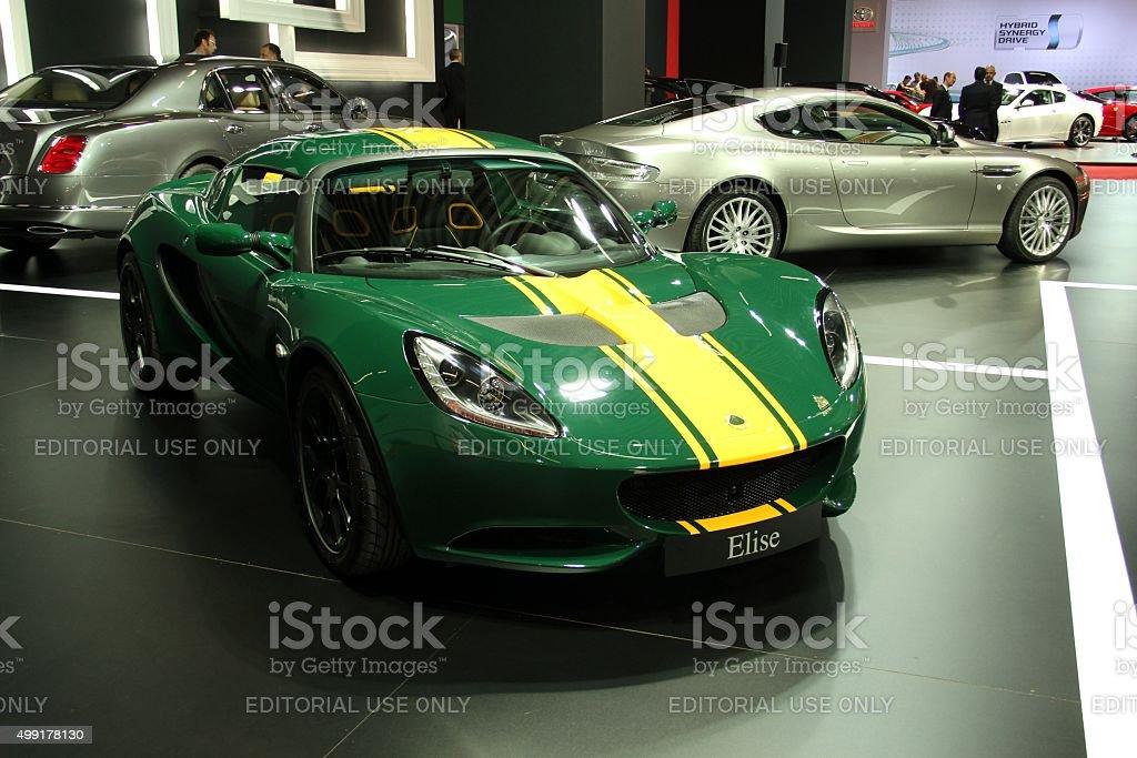 Lotus Elise on the motor show stock photo