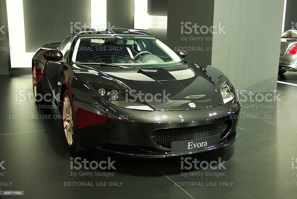 Lotus Evora on the motor show stock photo