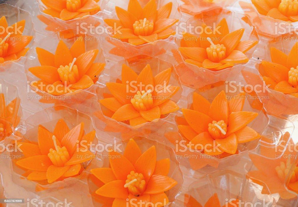 Lotus flower candles stock photo