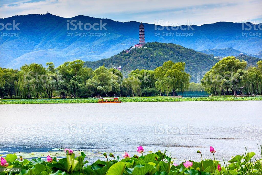 Lotus Garden Yue Feng Pagoda Summer Palace Beijing China stock photo