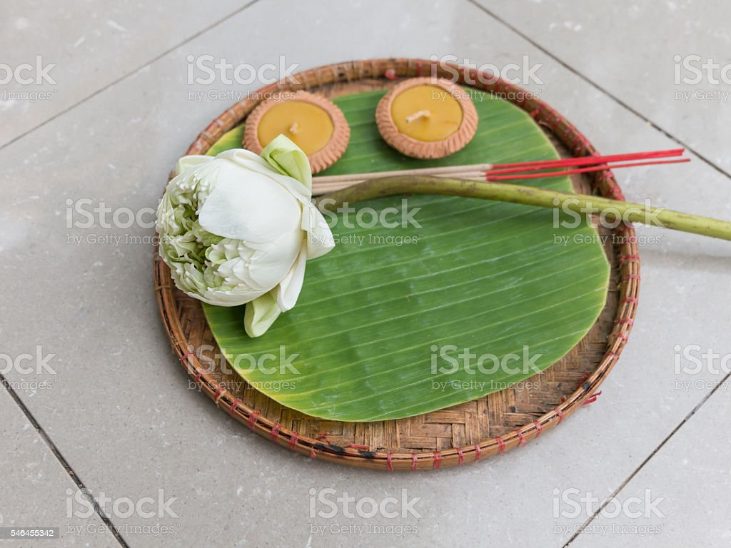 Lotus, incense sticks and candles set stock photo