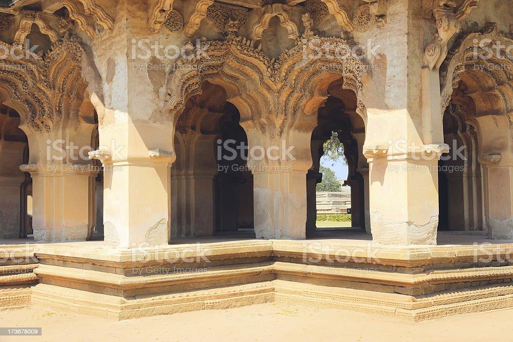 Lotus Mahal in Hampi, India. Detail stock photo