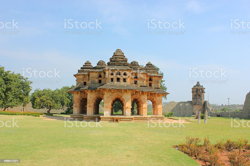 Lotus palace in Hampi stock photo