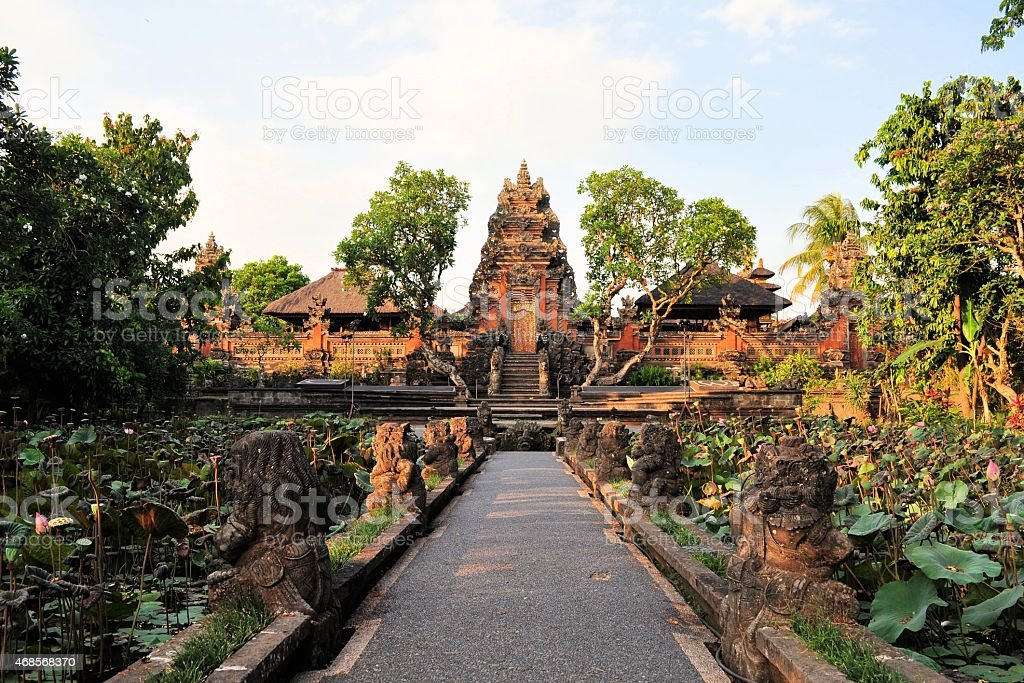 Lotus pond and Hindu temple, Ubud, Bali stock photo