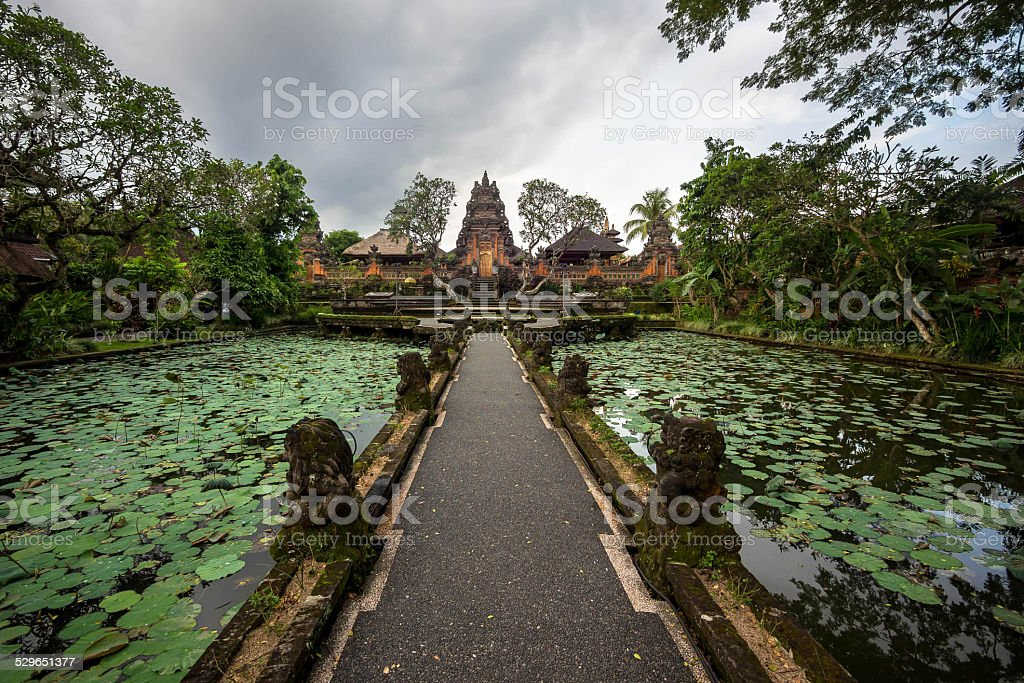 Lotus Pond and Pura Saraswati Temple in Ubud, Bali, Indonesia stock photo