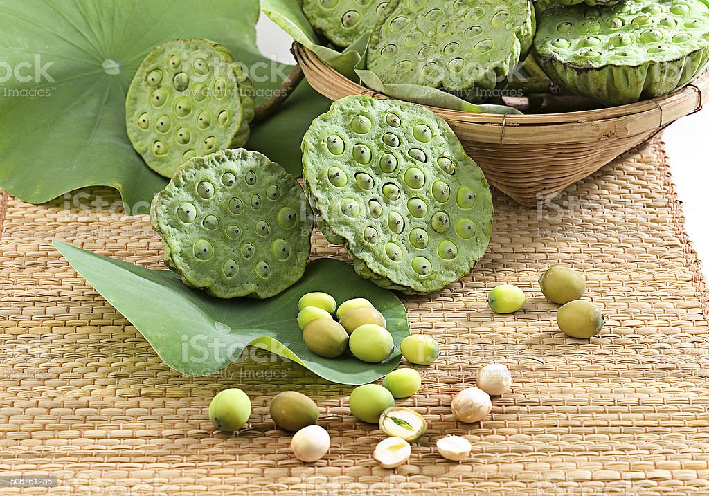 Lotus seeds and leafs on basket stock photo